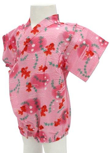 金魚水草柄 ピンク色 ロンパース甚平 グレコ [70サイズ] 綿100% 日本製 真夏のルームウェア&夏祭りはコレで決まり!