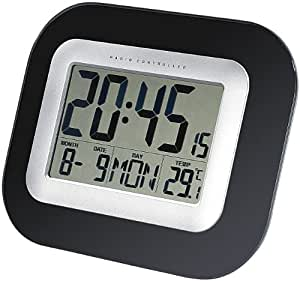 infactory Wand- & Tisch-Funkuhr mit Weckfunktion & Temperaturanzeige