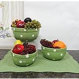 Set of 3 POLKA DOTS Green Ceramic Mixing Bowls, 82169MIX By ACK