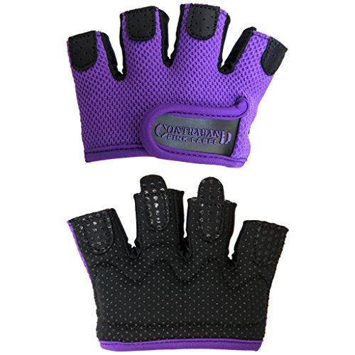 Contraband Pink Label 5537 Womens MICRO Weight Lifting Gloves w/ Grip-Lock Padding (PAIR) (Purple, Medium)