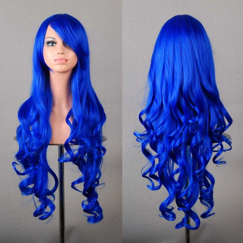 "32"" 80cm Long Hair Heat Resistant Spiral Curly Cosplay Wig+free Wig Cap (Dark Blue) by Generic"