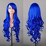 """32"""" 80cm Long Hair Heat Resistant Spiral Curly Cosplay Wig+free Wig Cap (Dark Blue)"""