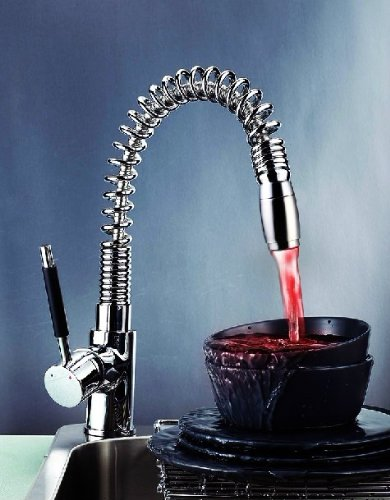 Led Kitchen Pull Out & Spray Faucet No Battery Tap Mixer Yl-4800