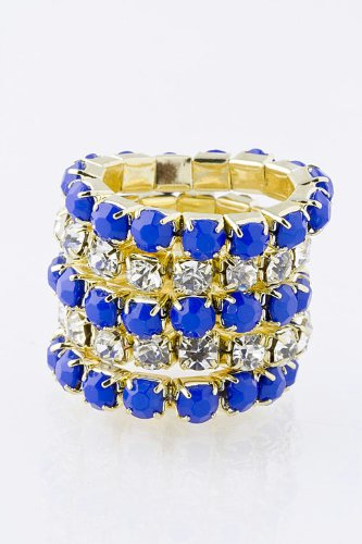 Trendy Fashion Jewelry Stacked Band Ring By Fashion Destination | (Navy)