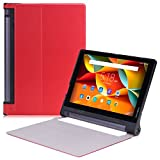 Lenovo Yoga Tab 3 ケース - ATiC Lenovo Yoga Tab 3 10インチタブレット専用開閉式軽量薄型スタンドケース。RED