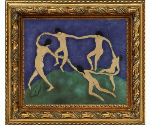 Art Reproduction Oil Painting - Matisse Paintings: La Danse with Autumn Flourish Frame - Leaf Pattern in Antique Gold - 30