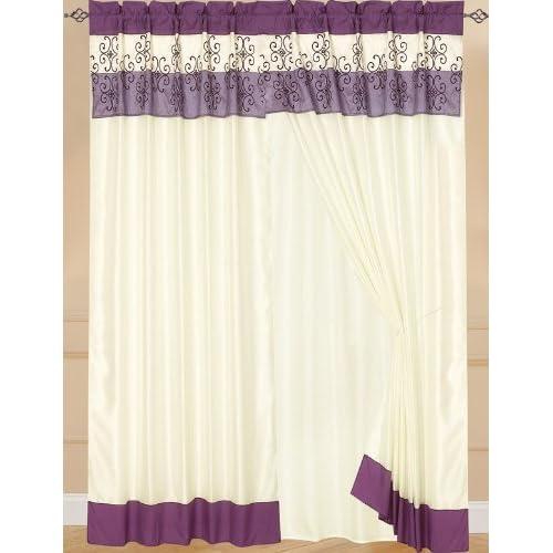 Kitchen Curtains Purple: Luxury Curtain Set Purple W/Drapes/Valance