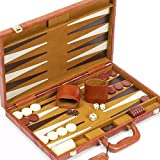 Madison Avenue Genuine Leather Backgammon Set