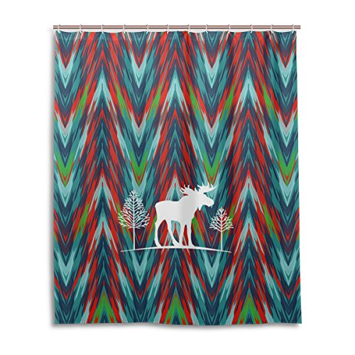 Merveilleux Merry Christmas Bath Shower Curtain 60x72 Inch,Green Classic Tie Dye  Mandala Elk ,Waterproof Polyester Fabric Bathroom Curtain