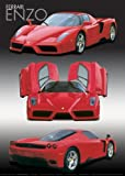 Ferrari Enzo Red Sports Car LAMINATED Poster Measures 34 x 24 inches (86.5 x 61 cm )