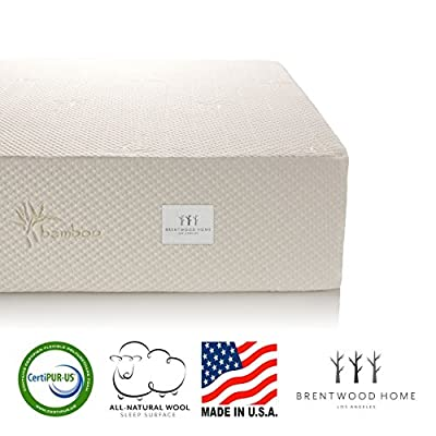 Brentwood Home 13-Inch Gel HD Memory Foam Mattress, Made in USA, CertiPUR-US, 25 Year Warranty, Natural Wool Sleep Surface and Bamboo Cover by Brentwood Home
