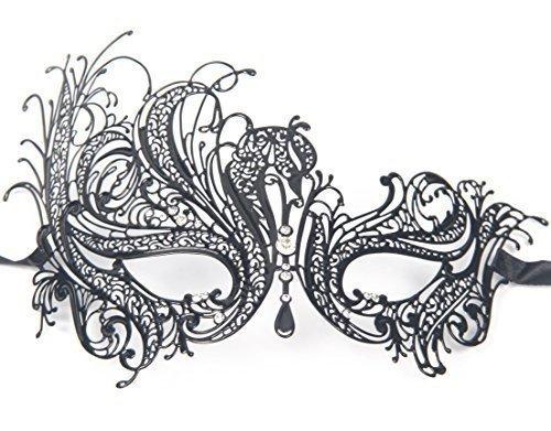 Signstek Metal Laser Cut Filigree Masquerade Venetian Party Mask, Black/Clear Stones