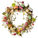 "National Tree Garden Accents Easter Wreath with Eggs, 18"", Flowers and Twigs"
