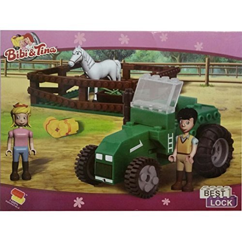 Best-Lock Kimmy Construction Toys Horse Corral, Tractor With 2 Figures and Bonus Items - 1