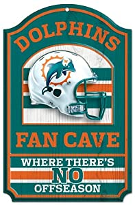 "Miami Dolphins Wood Sign - 11""x17"" Fan Cave Design"