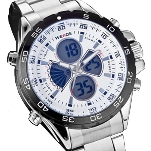 Weide Illuminated Back Light Men Analog Digital Multi-Functional Sports Watch - White Dial