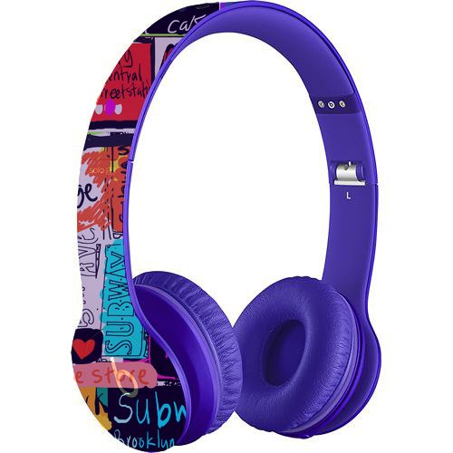 Beats By Dr. Dre Solo Hd On-Ear Monochromatic Headphones, Drenched In Purple Bundle With Gelaskin Nyc Words Wrap