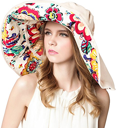 Bienvenu-Womens-Big-Brim-Foldable-UPF-50-Beach-Sun-Hat