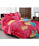 Kunal Retail Kunal Barbie Princess Double Bedsheet With 2 Pillow Covers- Double,Pink