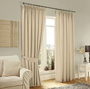 """Cream Lincoln Herringbone Tweed Thick Lined Pencil Pleat Curtains 66"""" X 90"""" by PCJ SUPPLIES"""