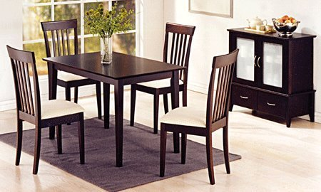 Black friday new cuppuccino finish solid wood dinette set for Dining table set deals