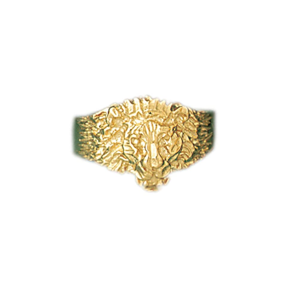14kt Yellow Gold Lions Head Mens Ring Jewelry