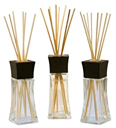 Greenair 3 Piece Reed Diffuser Set, Apricot Vanilla, Jasmine Blossom and Pink Grapefruit