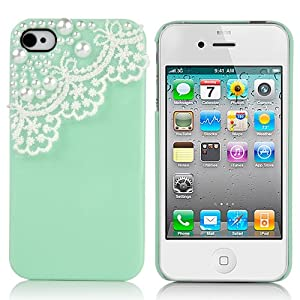Pandamimi Dexule Green Fashion Sweety Girls Hand Made Hard Case Cover for iPhone 4 4S with Screen Protector- Lace and Pearl Green