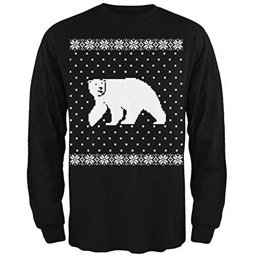 Big Polar Bear Ugly Christmas Sweater Black Long Sleeve T-Shirt - 2X-Large