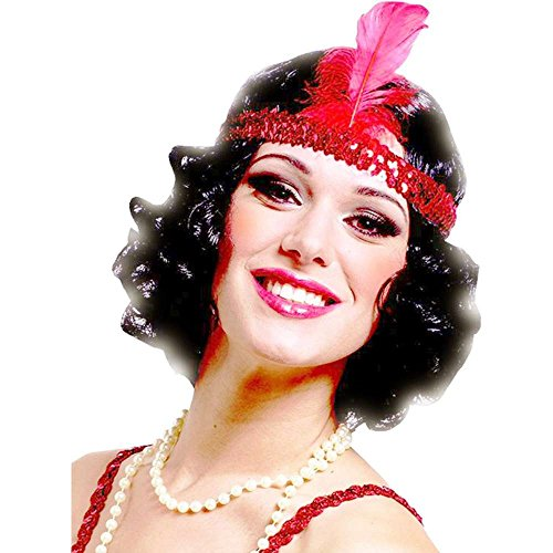 Curly Black Flapper Wig with Red Headband