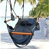Ezyoutdoor Hammock Hanging Chair Air Deluxe Sky Swing Outdoor Chair Solid Wood for Travel Picnic Bivouac Outdoor Sports (green)