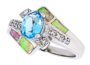 14K White Gold Plated Sterling Silver Synthetic Pink Opal Ring, with Oval Shape Blue Topaz Cubic Zirconia & Brilliant Cut Cubic Zirconia stone Accents For Women 13MM ( Size 6 to 9) Size 6