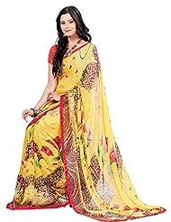 Indian Designer Sari Fashionable Floral Printed Faux Georgette Saree By Triveni