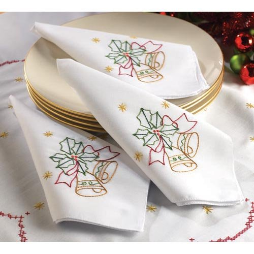 Bucilla 86287 Christmas Bells Stamped Cross Stitch Napkins, 16-Inch By 16-Inch, Set Of 4 front-930840