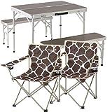 eSPORTSオリジナル テーブル・チェアセット アルミピクニックテーブルセット 90×66cm 追加チェア2脚セット 2WAY セパレート 折りたたみ モダンブラウン ALPT-90