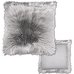 JEMIDI Kissenhülle Fell Winterfell Kissenbezug Bezüge Kissenbezüge Fellbezug Hülle Bezug Kissen Grau 40cm x 40cm