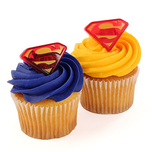 Superman Officially Licensed 24 Cupcake Topper Rings