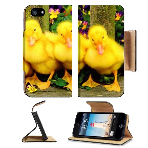Animal Wildlife Cute Duck Baby Flower Easter Spring Bird Apple Iphone 5 / 5S Flip Cover Case With Card Holder Customized Made To Order Support Ready Premium Deluxe Pu Leather 5 3/16 Inch (132Mm) X 2 11/16 Inch (68Mm) X 9/16 Inch (14Mm) Luxlady Iphone 5 Pr front-1068539