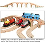 Orbrium Toys 6 Arches Viaduct Bridge for Wooden Railway Track Fits Thomas Trains Brio Chuggington set