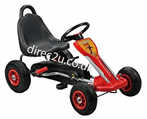 Kids pedal go-kart, hand brake, rubber tyres in Red