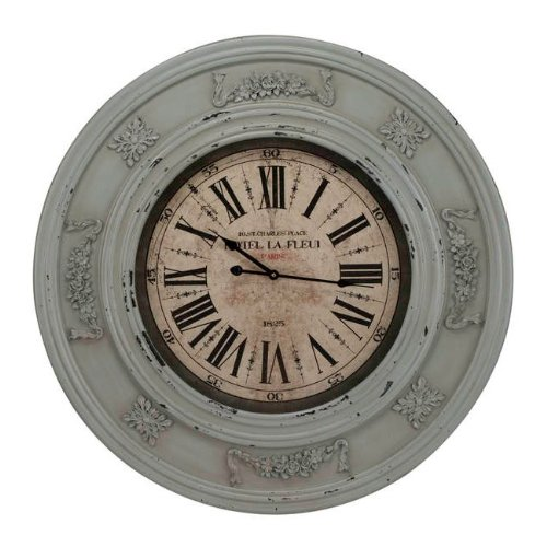 Round Wall Clock with Carved Floral Details in Distressed Light Blue Finish