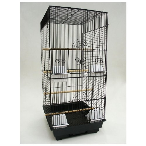 Cheap Four Perch Bird Cage with Optional Stand Black, (6624-4614-BLACK)