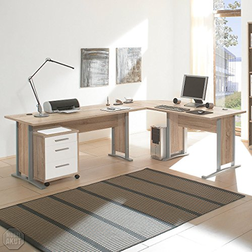 arbeitszimmer mit winkelschreibtisch komplett set office line mit highboard in eiche sonoma wei. Black Bedroom Furniture Sets. Home Design Ideas