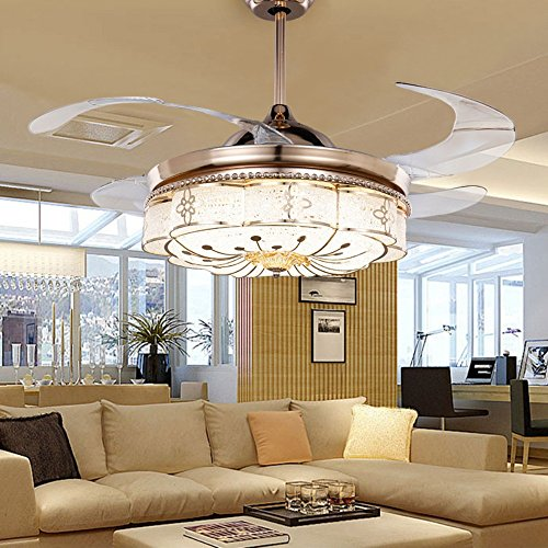 COLORLED Invisible Ceiling Fans Living Room Remote Controll Fan Lights Bedroom Simple Retro Retractable Belt LED Mute Electric Fan Chandeliers (18.9 Inch) (Retractable Blade Ceiling Fan compare prices)