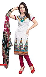 HK Trading Women's Crepe Unstitched Dress Material (MHARI57583254900_White Red_Free Size)