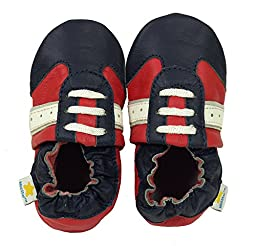 Ministar Boys Baby Infant Toddler Prewalker Leather Soft Sole Crib Shoes - Red, Navy, White - Med. 6-12 mo.