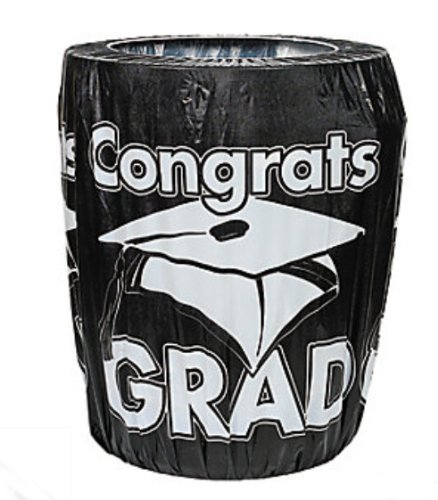 Fun Express Black Congrats Grad Trash Can Cover Graduation Party Decoration Novelty