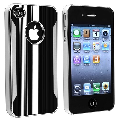 eForCity Snap-on Case compatible with Apple® iPhone® 4 / 4S, Chrome Aluminum Black / White