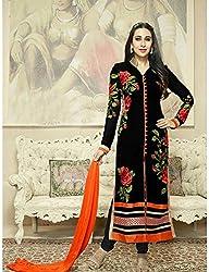 Diya Women's Black Georgette Designer Dress Materials [DS_JCN1009_D]