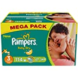 Pampers - Baby Dry - Couches Taille 3 Midi (4-9 kg) - Format Mégapack x114 couches